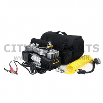 Durite Heavy Duty 12v Portable Twin Piston Air Compressor/Tyre Inflator
